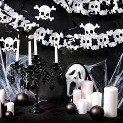 Guirlande hvidt dødningehoved dekoration