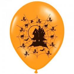 Orange Halloween ballon spøgelseshus