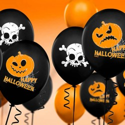 Sorte Halloween balloner med orange græskar