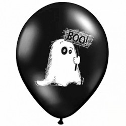 Sort Halloween ballon boo. 6 Stk