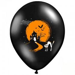 Sort Halloween balloner orange boo