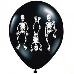 Sort Halloween balloner med skeletter