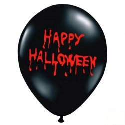 Sort happy Halloween ballon. 6 Stk