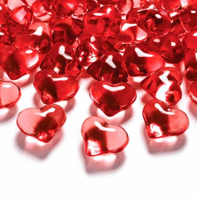 Røde krystal hjerter 30 stk
