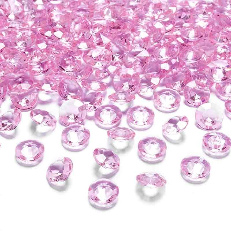 Lyserøde pynte diamanter 100 stk.