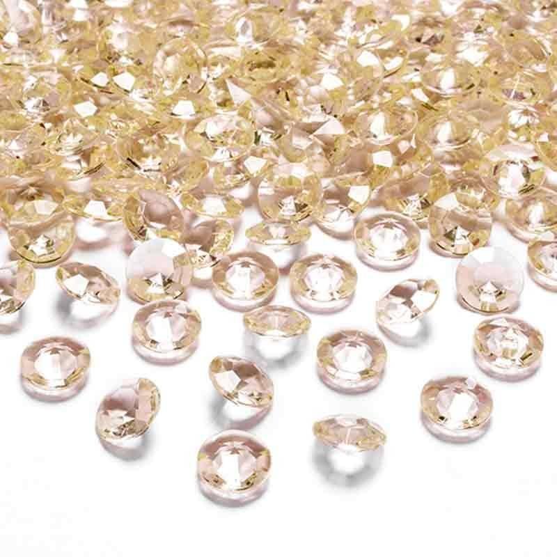 Gyldene pynte diamanter 12 mm. 100 stk.