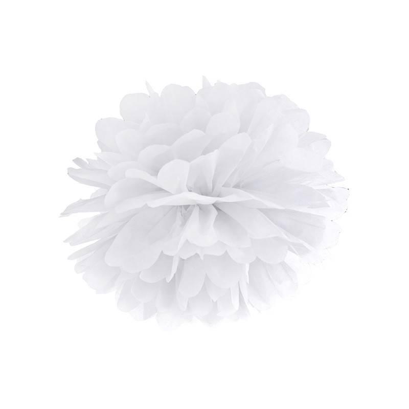 Hvid Pom Pom. 25 cm