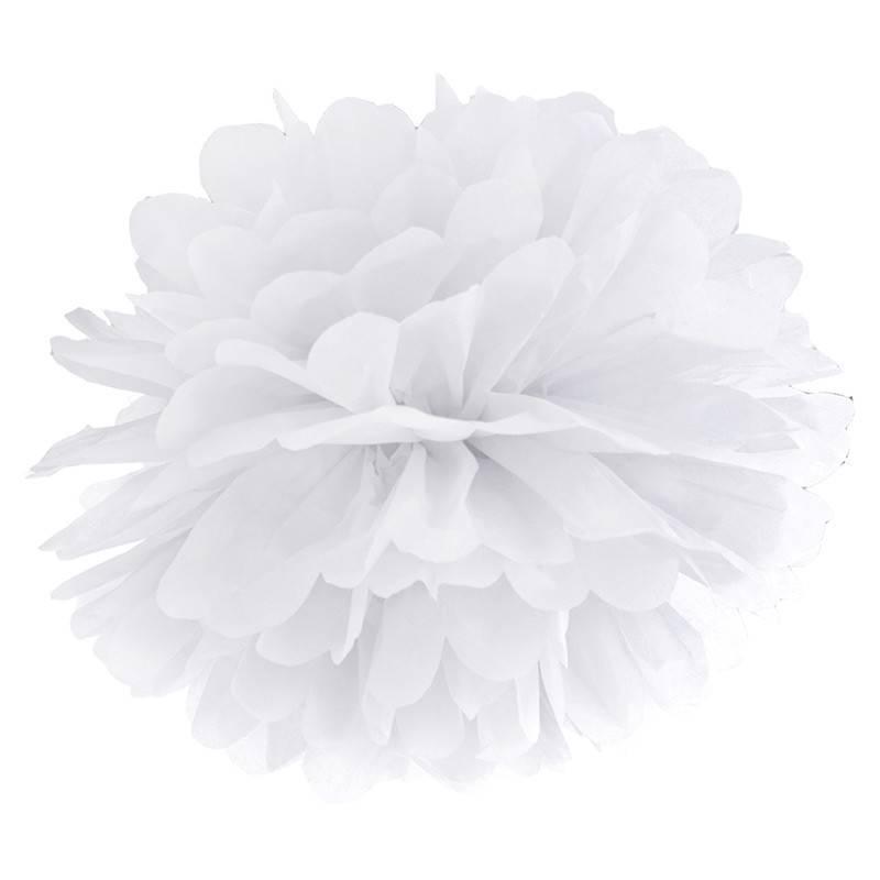 Hvid Pom Pom. 35 cm