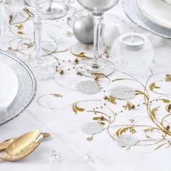 Creme organza bordløber guld mønstre til bryllup