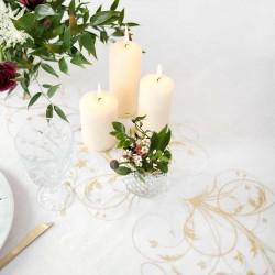 Creme organza bordløber guld mønstre til fødselsdag