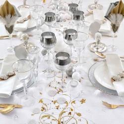 Creme organza bordløber guld mønstre guldbryllup