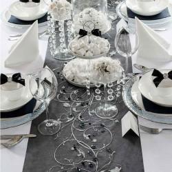 Sort organza bordløber sølv mønstre borddækning