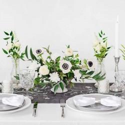 Sort organza bordløber sølv mønstre bordpynt
