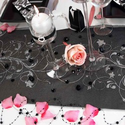 Sort organza bordløber sølv mønstre festbutik