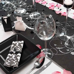 Sort organza bordløber sølv mønstre festpynt