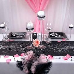Sort organza bordløber sølv mønstre fødselsdag