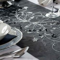 Sort organza bordløber sølv mønstre pynt