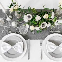 Sort organza bordløber sølv mønstre sølvbryllup