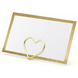 Hvidt Bordkort Med Guldkant 10 Stk