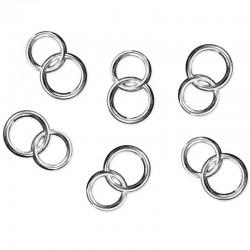 Konfetti dobbelte ringe sølv 25 stk