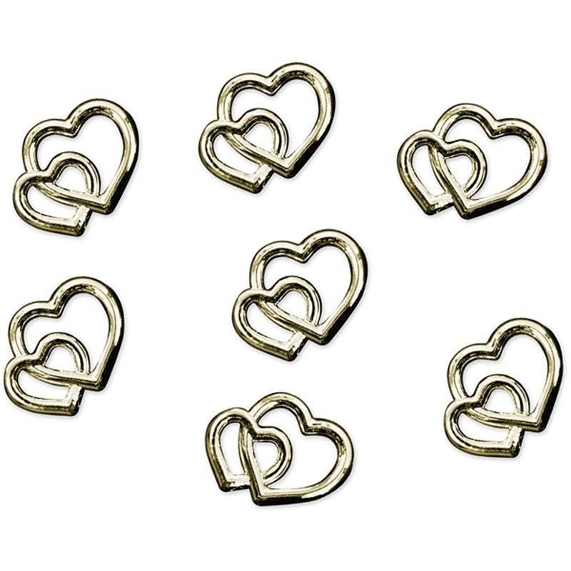 Konfetti dobbelte hjerter guld 25 stk
