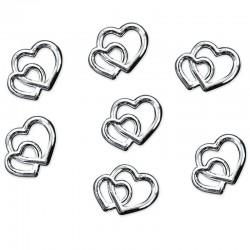 Konfetti dobbelte hjerter sølv 25 stk