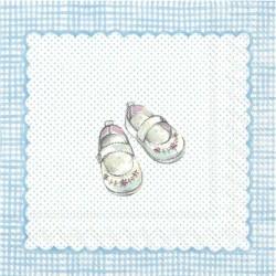 Servietter barnevogn og baby sko lyseblå 33 x 33 cm