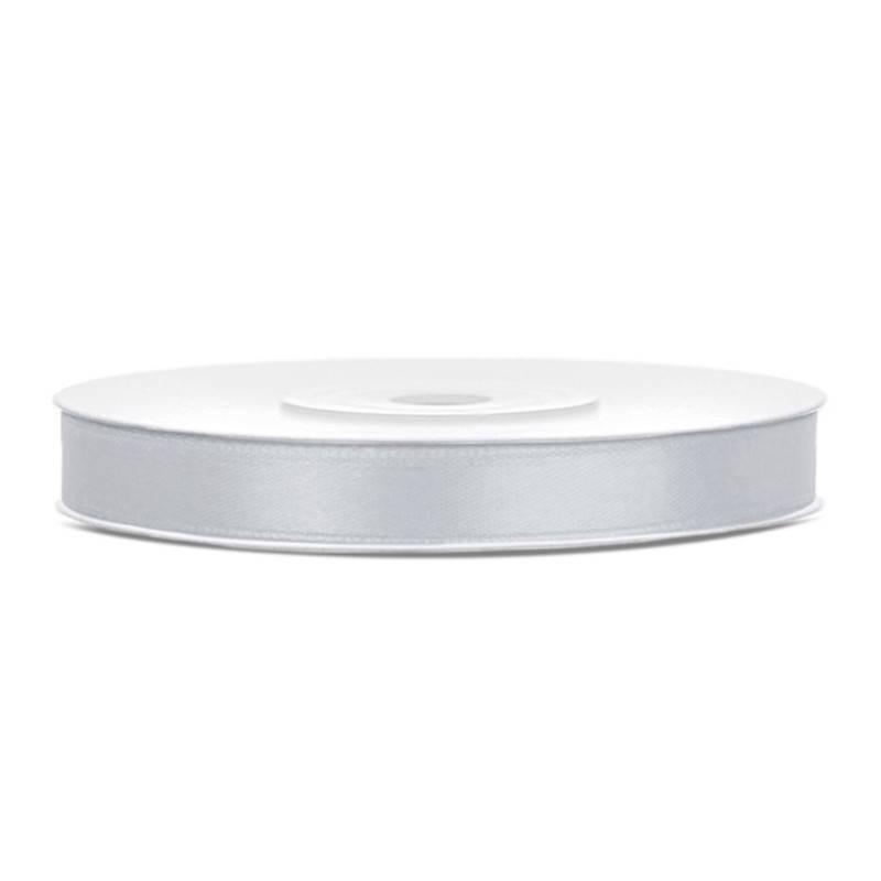 Sølv satinbånd 6 mm, 25 m.
