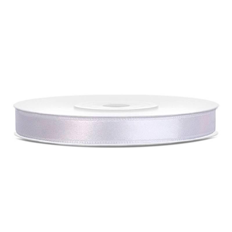 Hvid satinbånd 6 mm. 25 m.