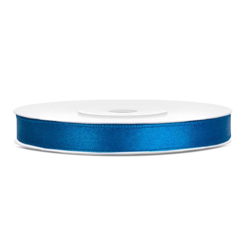 Blå satinbånd 6 mm. 25 m.