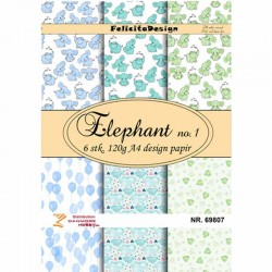 Felicita designpapir A4. Elefant nr. 1