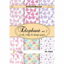 Felicita designpapir A4. Elefant nr. 2