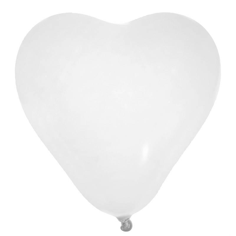 Hvid hjerte ballon 8 stk