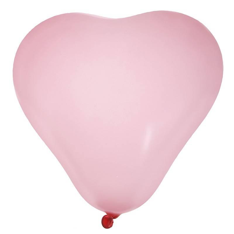 Lyserød hjerte ballon 8 stk
