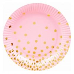 Lyserøde paptallerkner med guld prikker 18 cm 6 Stk