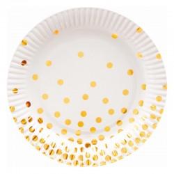 Hvide paptallerkner med guld prikker 18 cm 6 Stk