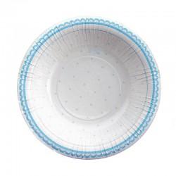 8 stk dybe paptallerkner lyseblå prik 24 cm