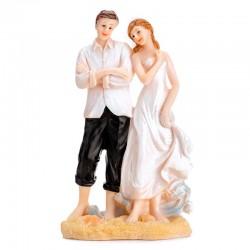 Topfigur brudepar på stranden. 15,5 cm