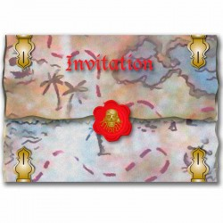 Invitationer rød pirat. 8 Stk.