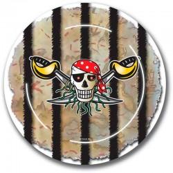 Paptallerken rød pirat
