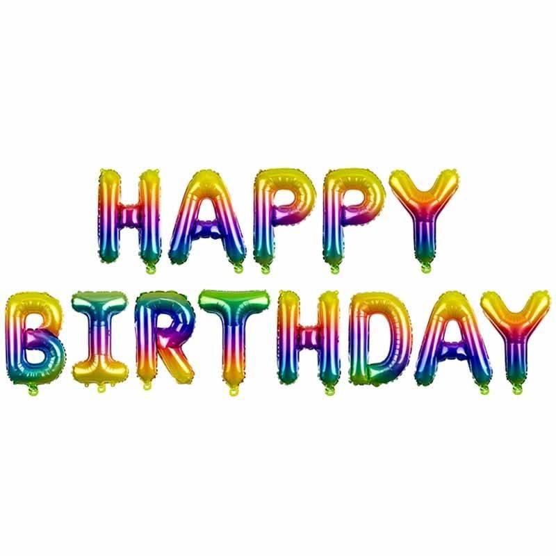 Happy Birthday Folieballon regnbue 35 cm.