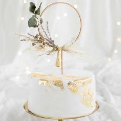 Kage topper cirkel træ til bryllup