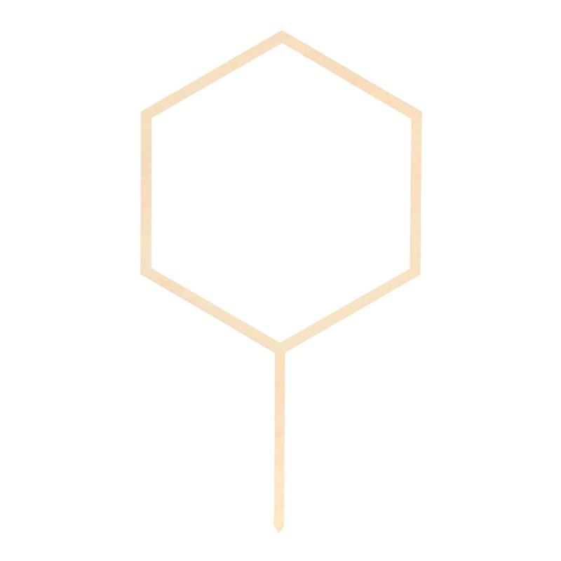 Kage topper Hexagon træ. 24 cm
