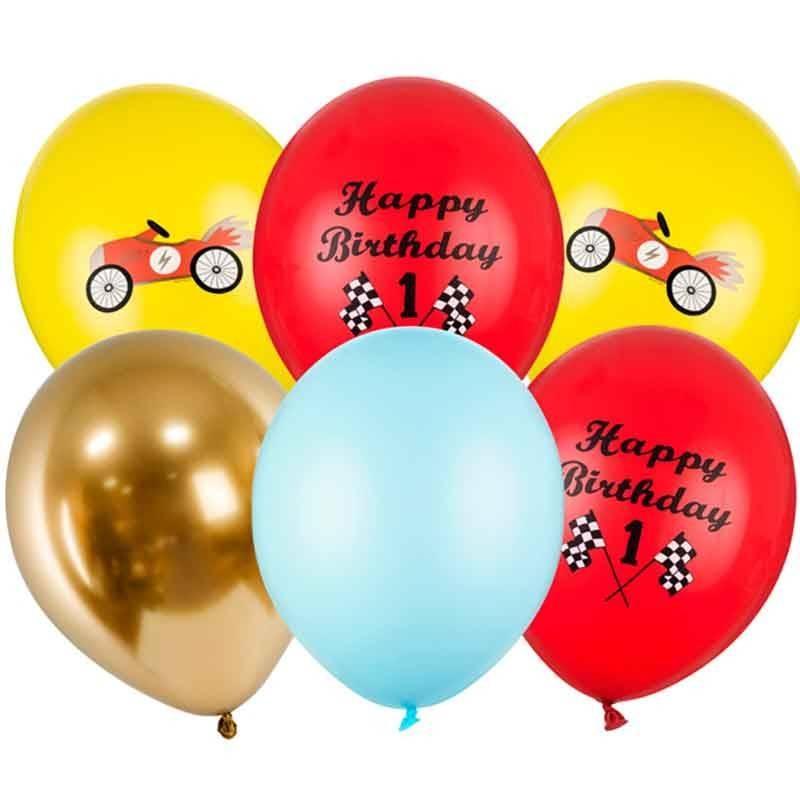 Ballonsæt 1 år Racerbil Happy Birthday