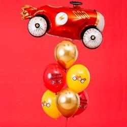 Ballonsæt Racerbil Happy Birthday 1 års fødselsdag