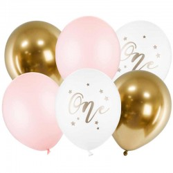 Ballon sæt One Pastel Lyserød. 6 stk