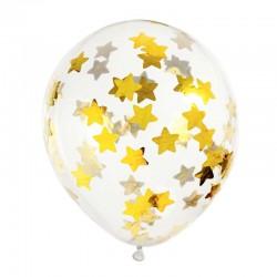 Konfetti Balloner Guld Stjerner. 6 stk