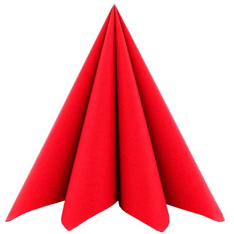 Airlaid Tekstilservietter Rød 40 x 40 cm. 12 stk.