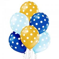 Ballon Sæt Blå-Guld-lyseblå Hvide Prikker. 6 stk