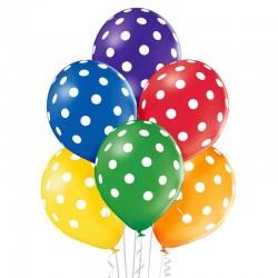 Ballon Sæt Mix Farver Hvide Prikker. 6 stk